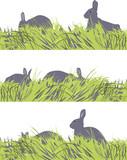 vector set of  eastern  bunny motif poster