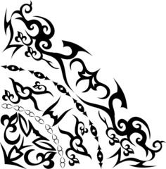abstract quadrant ornament in black