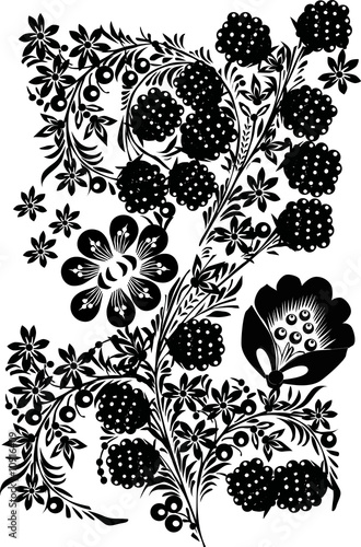 black fruits and leaves decoration