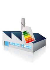 Usine et étiquette énergie (reflet)