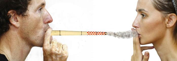 man intoxicating woman by smoking a chimney