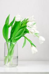 Tulips in glass vase against gray background. Still life