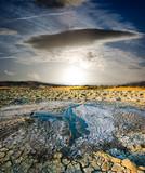 surreal landscape volcano erupted liquid mud to sunset poster