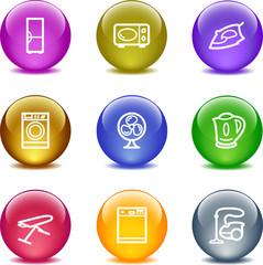 Color glass ball web icons, set 18