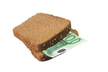 One-hundred euro bill between two slices of brown bread