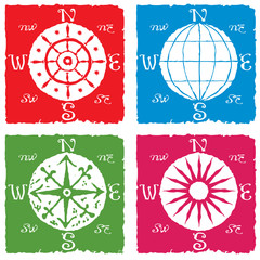 navigation globe and compass icon rustic colored