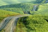 Gravel road, wheatfields, Tuscany, Italy poster