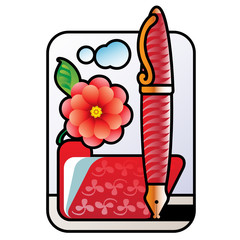 red pen and folder with flower under clouds