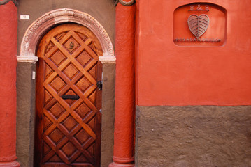 Rustic colorful door in Mexico