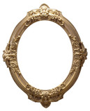 Isolated empty oval golden handmade frame poster