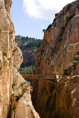 Beautiful view of old bridge in El Chorro gorge