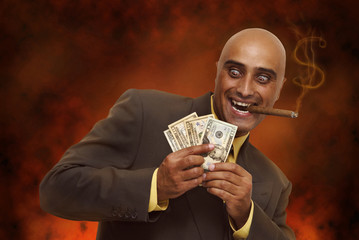 Devilish businessman in hell