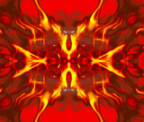 Detail fire blaze on concolorous background - abstract poster