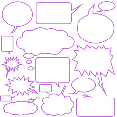 Comic Dialogue Thought Balloon Purple Edged - Isolated