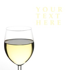 White wine close up, lots of copy space