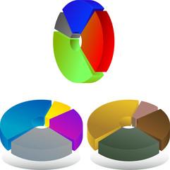 Abstract vector illustration of  pie chart diagrams