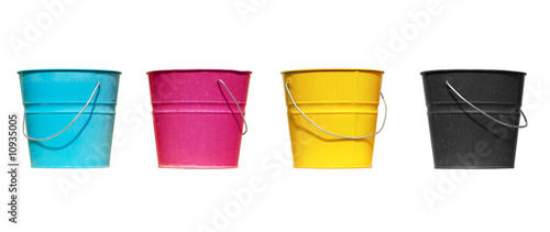 Four buckets of different colors - 10935005