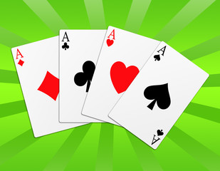 Illustration of the four aces signs poker