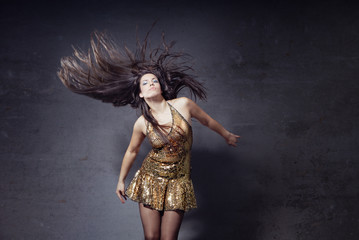 Disco dancer with long hairs