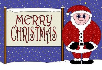 Merry Christmas Banna & Happy Santa Greeting