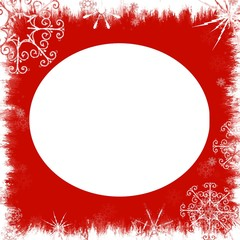 Christmas Red Snowflake Frame - with isolated clipping