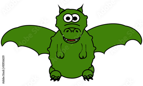 Magic Dragon Cartoon - Isolated On White