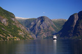 Cruise ship on fjord in Norway poster