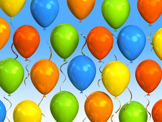 Party balloons in sky