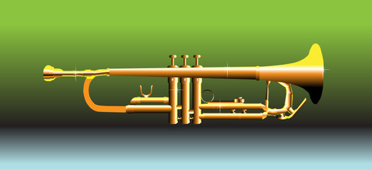 Colorful illustration with isolated golden trumpet