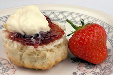 Cornish cream tea scone and strawberry
