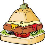 Unhealthy hamburger food pyramid poster