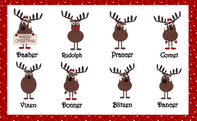 Santas Cartoon Reindeers With Names