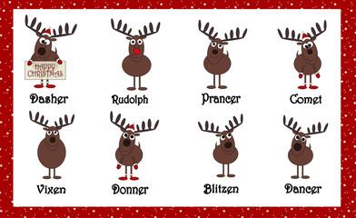 Santas Cartoon Reindeers With Names