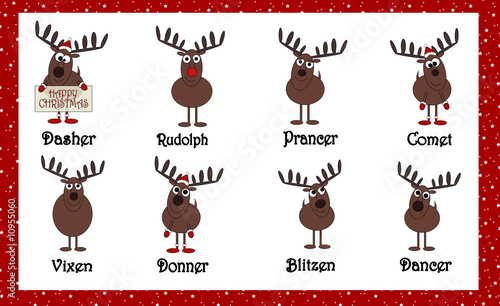 """Santas Cartoon Reindeers With Names"""" Stock photo and royalty-free ..."""