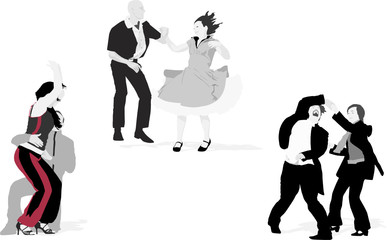 three couples dancing, vector collection