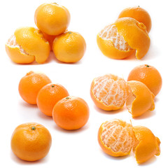 Assembling of Tangerines isolated on white background