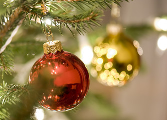 Christmas tree ornamented with baubles