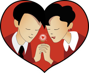 st valentine day,man and woman in heart