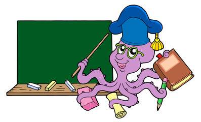 Octopus teacher with blackboard