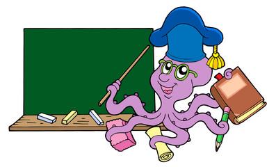 Octopus teacher with blackboard
