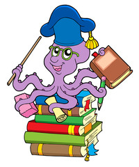 Octopus teacher on pile of books