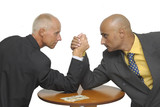 Two businessman arm wrestling poster