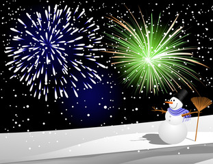 Snowman under firework