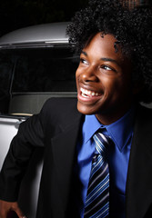 Smiling young teenage businessman