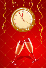 Illustration of holiday clock and champagne