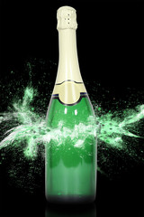 Champagne explodes.