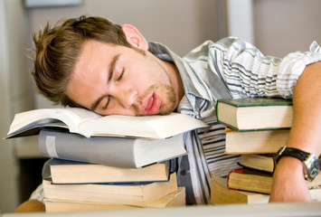 tired student sleeping