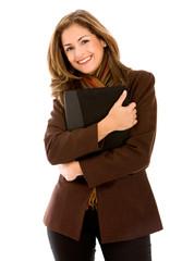 Beautiful business woman with a folder