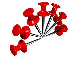 Colored plastic pushpins