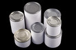 Plain white tin cans